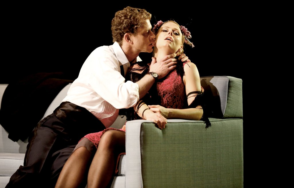 Lucas Hall as Torvald and Liv Rooth as Nora