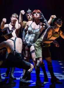 """Clockwise from top center: Matthew Carlson, Jake Shears, Wyatt Fenner, Brionne Davis and Jonathan B. Wright in Martin Sherman's """"Bent,"""" directed by Moisés Kaufman, playing July 15 – August 23, 2015, at the Center Theatre Group/Mark Taper Forum. For tickets and information, please visit CenterTheatreGroup.org or call (213) 628-2772.   Contact:  CTG Media and Communications/ (213) 972-7376/CTGMedia@ctgla.org Photo by Craig Schwartz"""