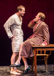 """L-R: Tom Berklund and Patrick Heusinger in Martin Sherman's """"Bent,"""" directed by Moisés Kaufman, playing July 15 – August 23, 2015, at the Center Theatre Group/Mark Taper Forum. For tickets and information, please visit CenterTheatreGroup.org or call (213) 628-2772.   Contact:  CTG Media and Communications/ (213) 972-7376/CTGMedia@ctgla.org Photo by Craig Schwartz"""